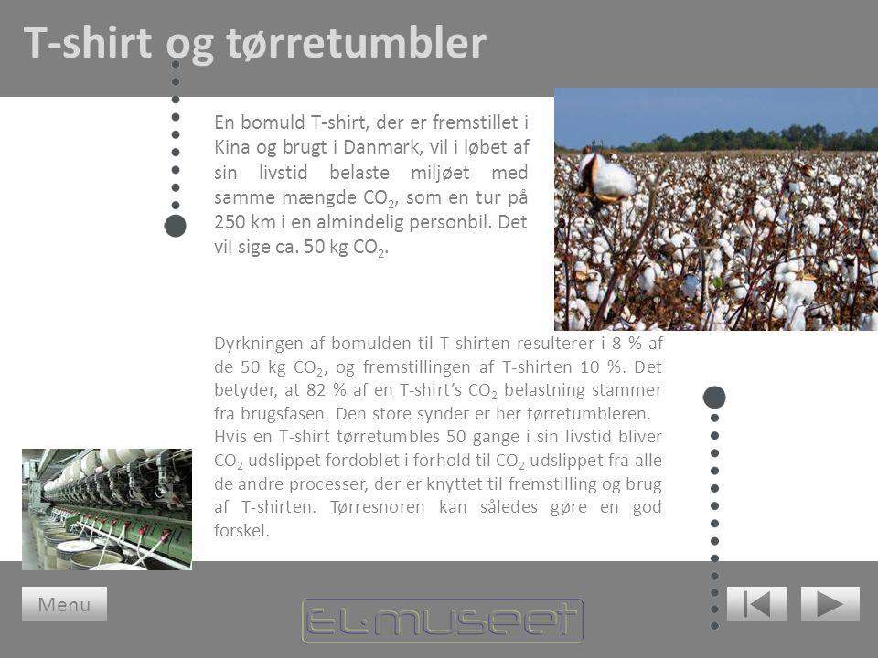 T-shirt og tørretumbler En bomuld T-shirt, der er fremstillet i Kina og brugt i Danmark, vil i løbet af sin livstid belaste miljøet med samme mængde CO 2, som en tur på 250 km i en almindelig personbil.