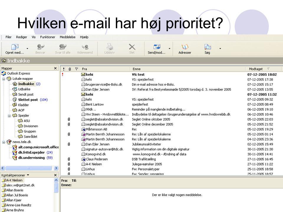 Hvilken e-mail har høj prioritet