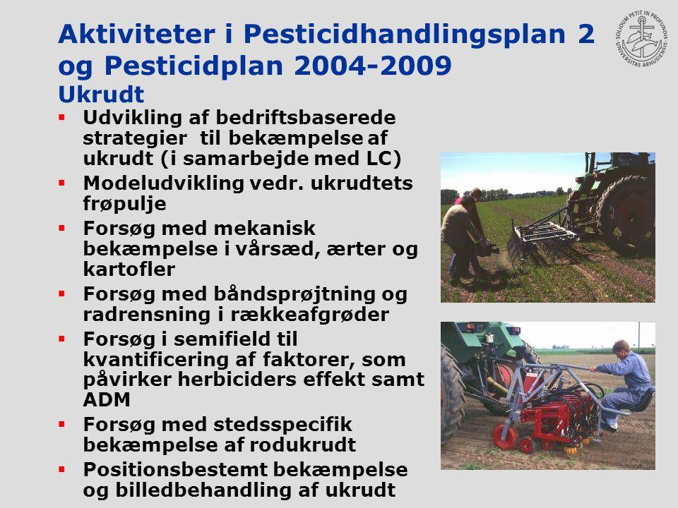 Aktiviteter i Pesticidhandlingsplan 2 og Pesticidplan 2004-2009 Ukrudt  Udvikling af bedriftsbaserede strategier til bekæmpelse af ukrudt (i samarbejde med LC)  Modeludvikling vedr.