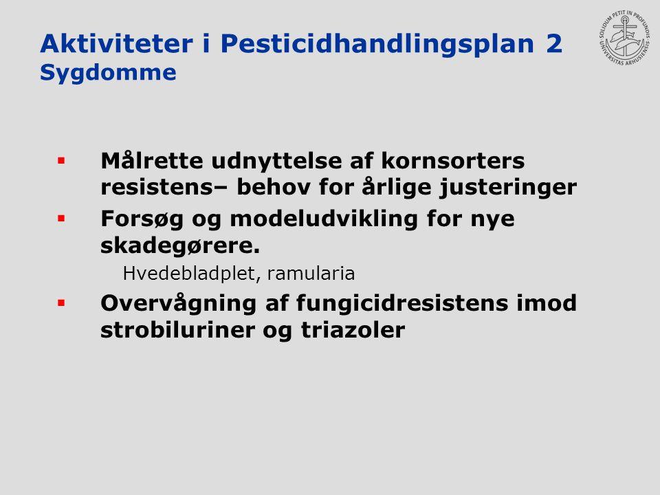 Aktiviteter i Pesticidhandlingsplan 2 Sygdomme  Målrette udnyttelse af kornsorters resistens– behov for årlige justeringer  Forsøg og modeludvikling for nye skadegørere.