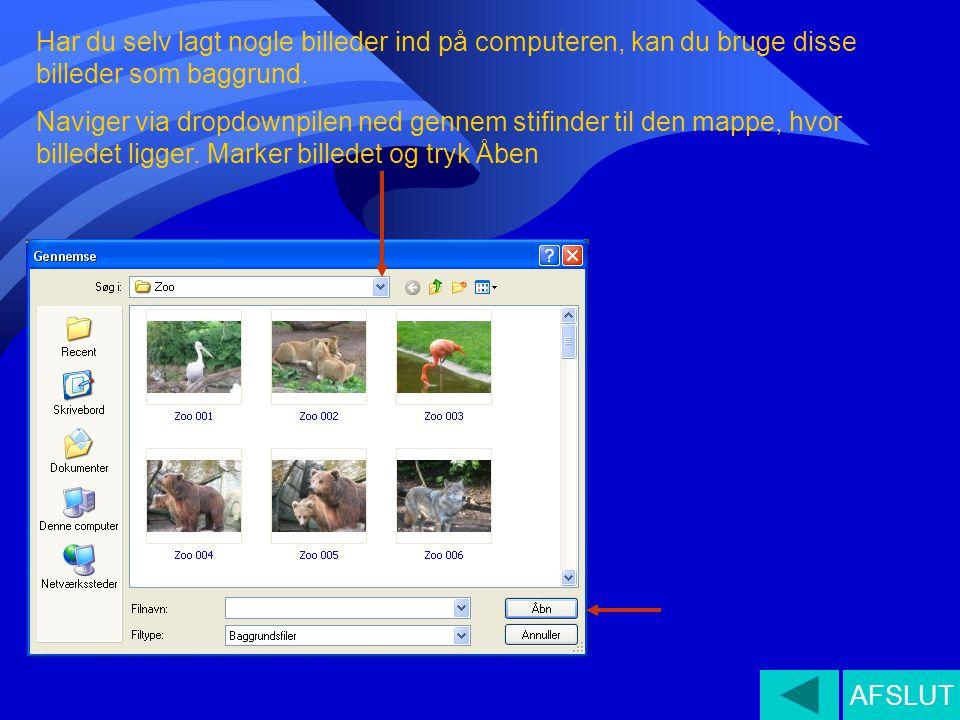 Har du selv lagt nogle billeder ind på computeren, kan du bruge disse billeder som baggrund. Naviger via dropdownpilen ned gennem stifinder til den ma