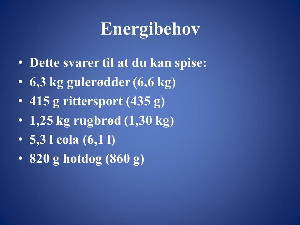 Energibehov • Dette svarer til at du kan spise: • 6,3 kg gulerødder (6,6 kg) • 415 g rittersport (435 g) • 1,25 kg rugbrød (1,30 kg) • 5,3 l cola (6,1 l) • 820 g hotdog (860 g)