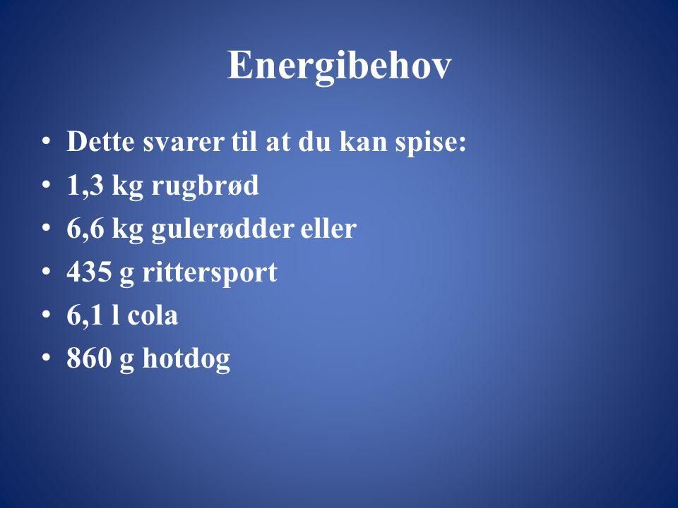 Energibehov • Dette svarer til at du kan spise: • 1,3 kg rugbrød • 6,6 kg gulerødder eller • 435 g rittersport • 6,1 l cola • 860 g hotdog