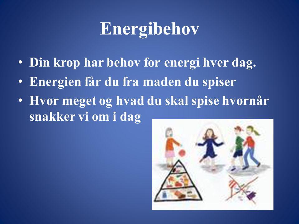 Energibehov • Din krop har behov for energi hver dag.