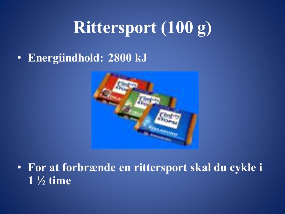 Rittersport (100 g) • Energiindhold: 2800 kJ • For at forbrænde en rittersport skal du cykle i 1 ½ time