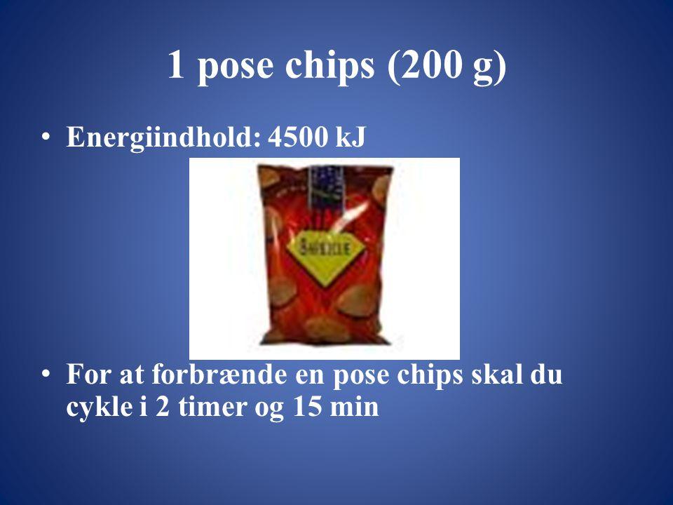 1 pose chips (200 g) • Energiindhold: 4500 kJ • For at forbrænde en pose chips skal du cykle i 2 timer og 15 min