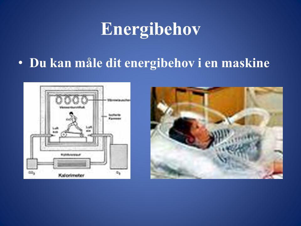 Energibehov • Du kan måle dit energibehov i en maskine