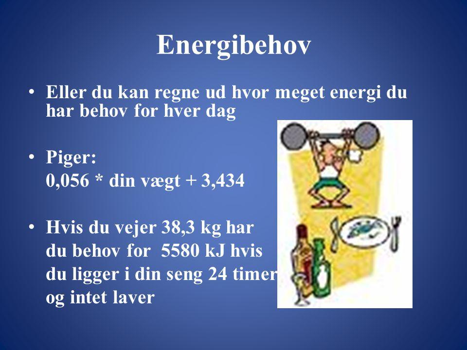 Energibehov • Eller du kan regne ud hvor meget energi du har behov for hver dag • Piger: 0,056 * din vægt + 3,434 • Hvis du vejer 38,3 kg har du behov for 5580 kJ hvis du ligger i din seng 24 timer og intet laver