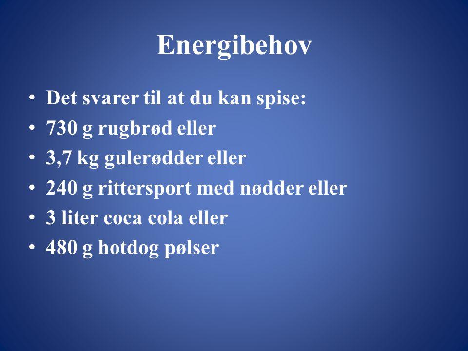 Energibehov • Det svarer til at du kan spise: • 730 g rugbrød eller • 3,7 kg gulerødder eller • 240 g rittersport med nødder eller • 3 liter coca cola eller • 480 g hotdog pølser