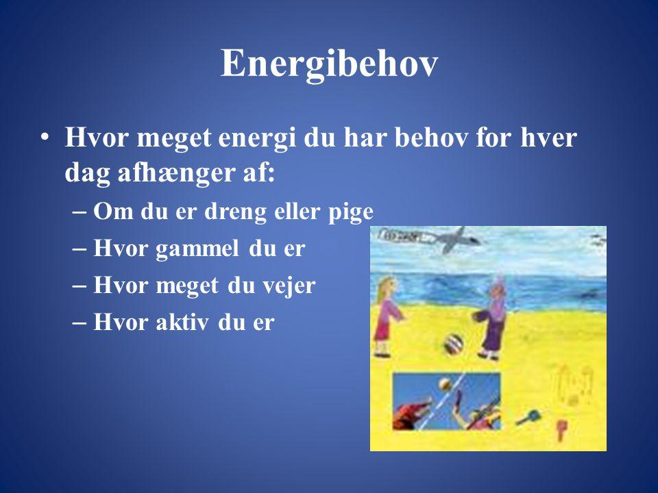 Energibehov • Hvor meget energi du har behov for hver dag afhænger af: – Om du er dreng eller pige – Hvor gammel du er – Hvor meget du vejer – Hvor aktiv du er