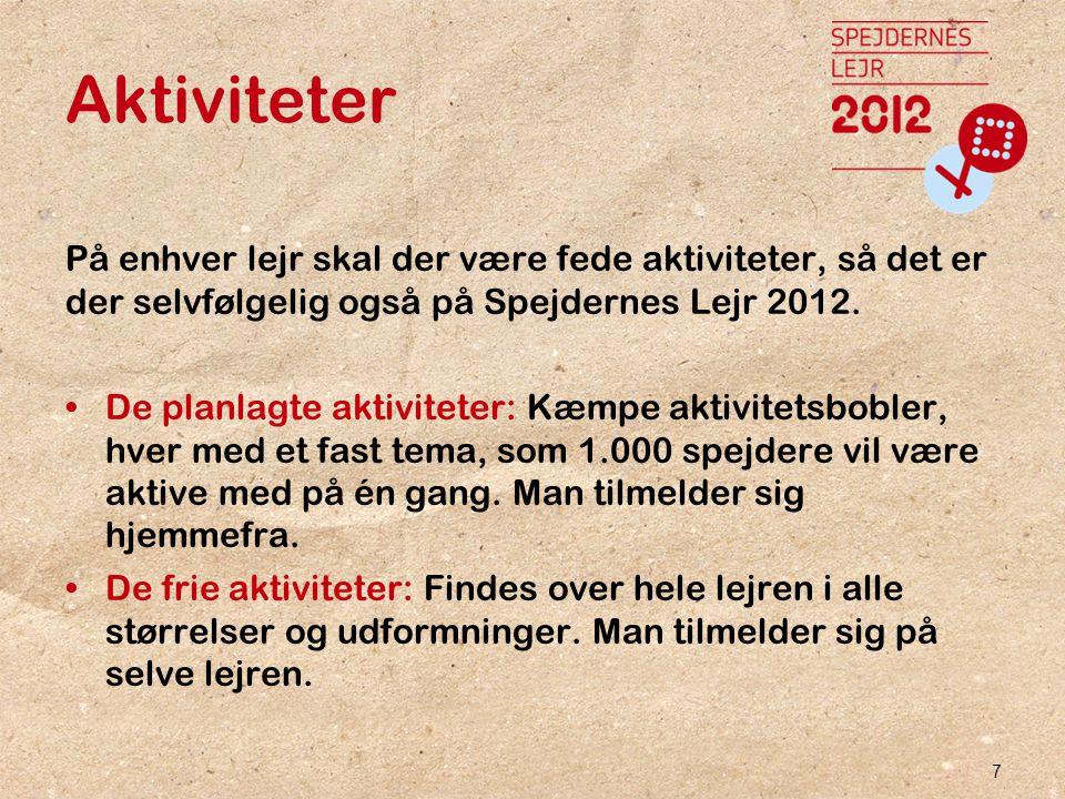 7 Aktiviteter På enhver lejr skal der være fede aktiviteter, så det er der selvfølgelig også på Spejdernes Lejr 2012.