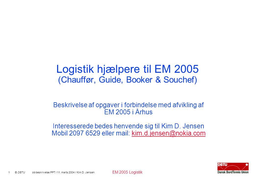 EM 2005 Logistik 1 © DBTU ob beskrivelse.PPT / 11.