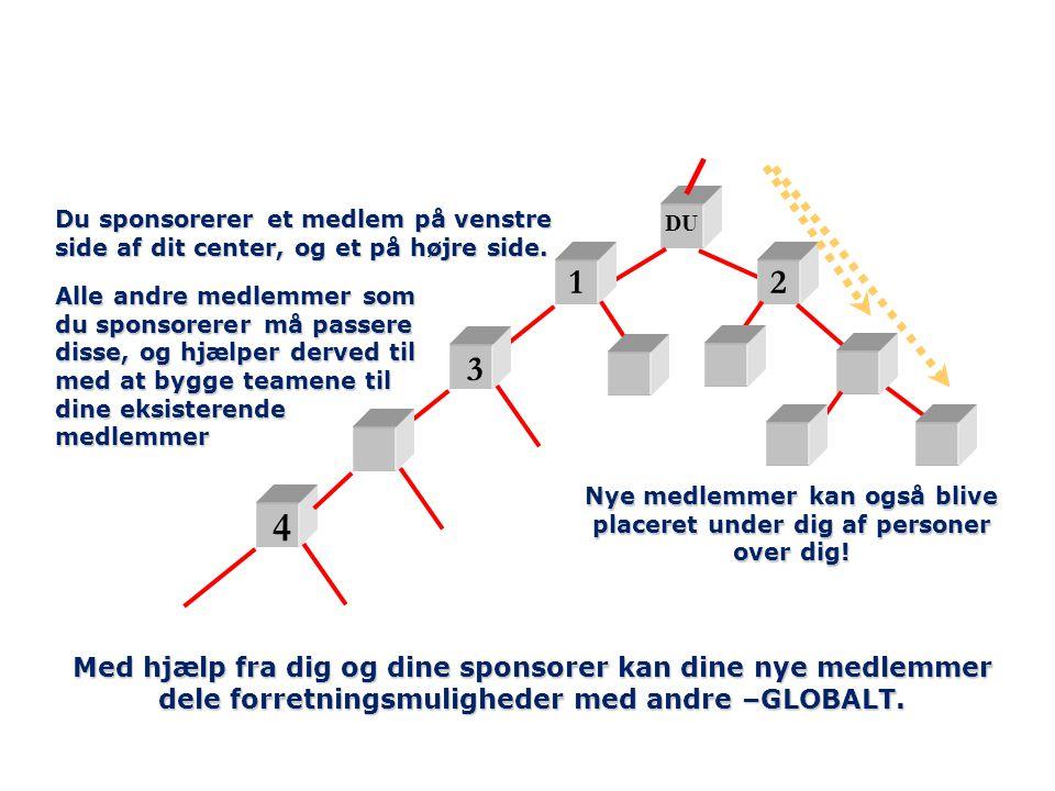 DU 12 3 4 Du sponsorerer et medlem på venstre side af dit center, og et på højre side.