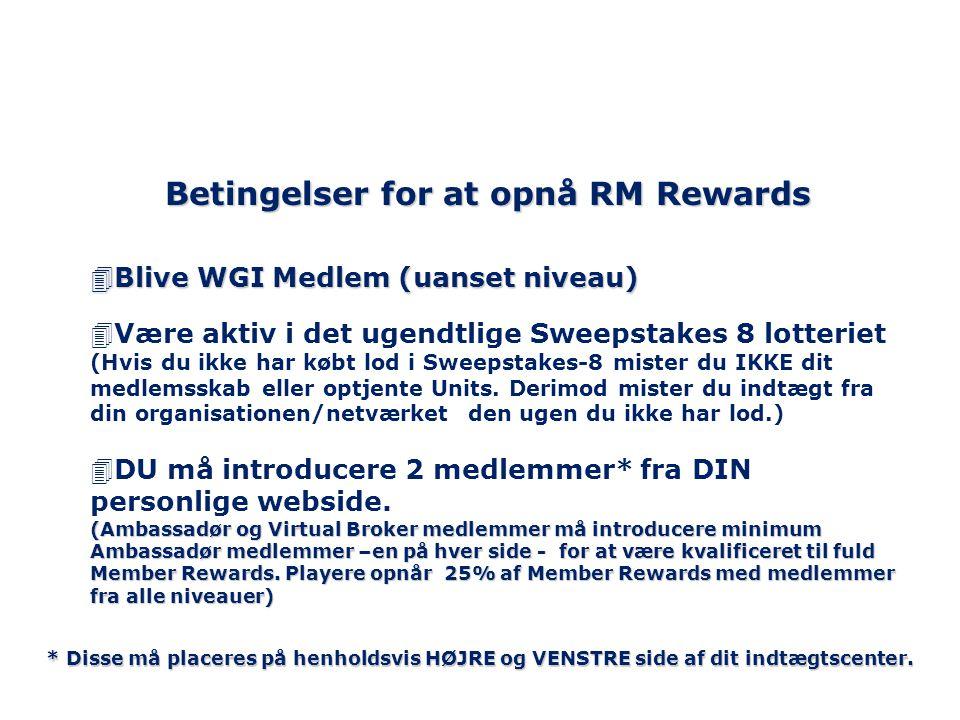 Betingelser for at opnå RM Rewards 4Blive WGI Medlem (uanset niveau) 4Være aktiv i det ugendtlige Sweepstakes 8 lotteriet (Hvis du ikke har købt lod i Sweepstakes-8 mister du IKKE dit medlemsskab eller optjente Units.
