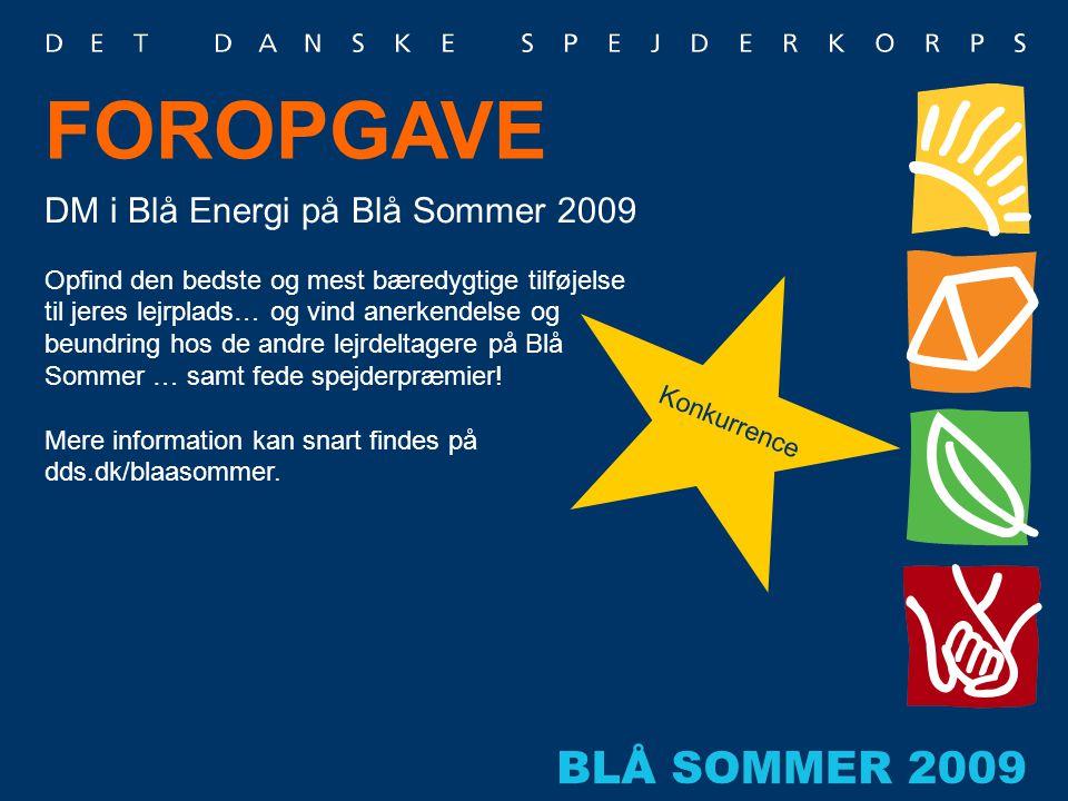 FOROPGAVE DM i Blå Energi på Blå Sommer 2009 Opfind den bedste og mest bæredygtige tilføjelse til jeres lejrplads… og vind anerkendelse og beundring h