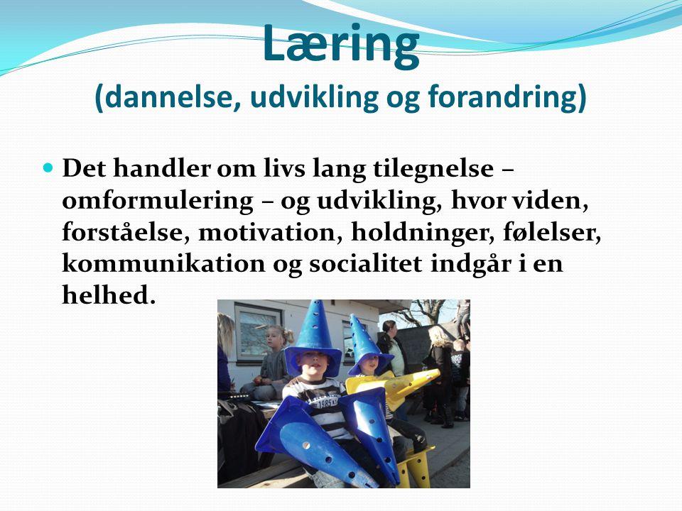 Læring (dannelse, udvikling og forandring)  Det handler om livs lang tilegnelse – omformulering – og udvikling, hvor viden, forståelse, motivation, holdninger, følelser, kommunikation og socialitet indgår i en helhed.
