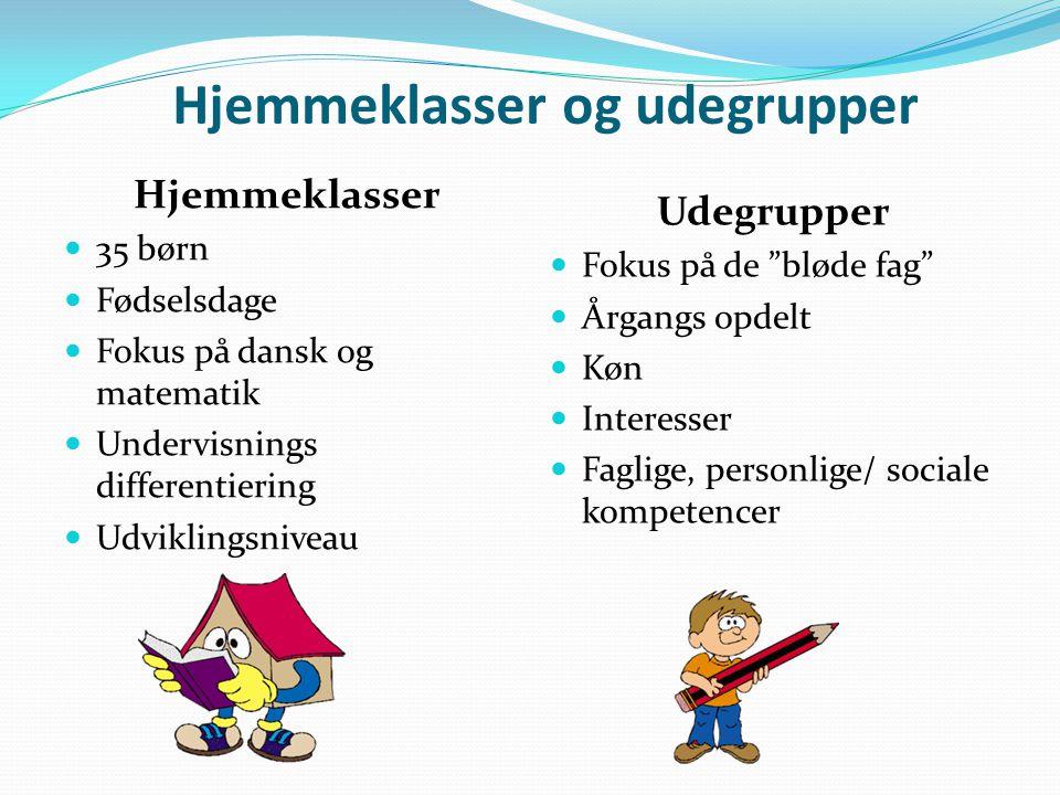 Hjemmeklasser og udegrupper Hjemmeklasser  35 børn  Fødselsdage  Fokus på dansk og matematik  Undervisnings differentiering  Udviklingsniveau Udegrupper  Fokus på de bløde fag  Årgangs opdelt  Køn  Interesser  Faglige, personlige/ sociale kompetencer