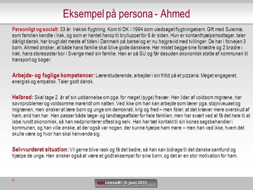 Eksempel på persona - Ahmed Personligt og socialt: 33 år. Irakisk flygtning. Kom til DK i 1994 som uledsaget flygtningebarn. Gift med Suleima, som fam