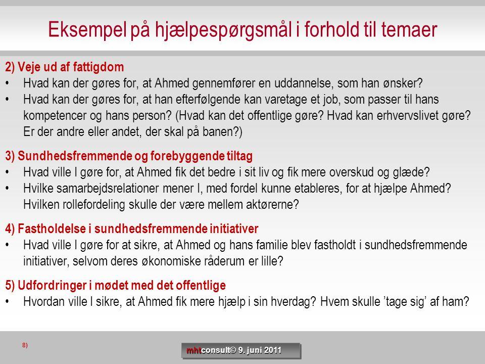 Eksempel på hjælpespørgsmål i forhold til temaer 2) Veje ud af fattigdom •Hvad kan der gøres for, at Ahmed gennemfører en uddannelse, som han ønsker?