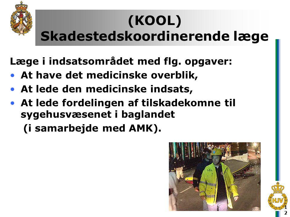 12 (KOOL) Skadestedskoordinerende læge Læge i indsatsområdet med flg. opgaver: •At have det medicinske overblik, •At lede den medicinske indsats, •At