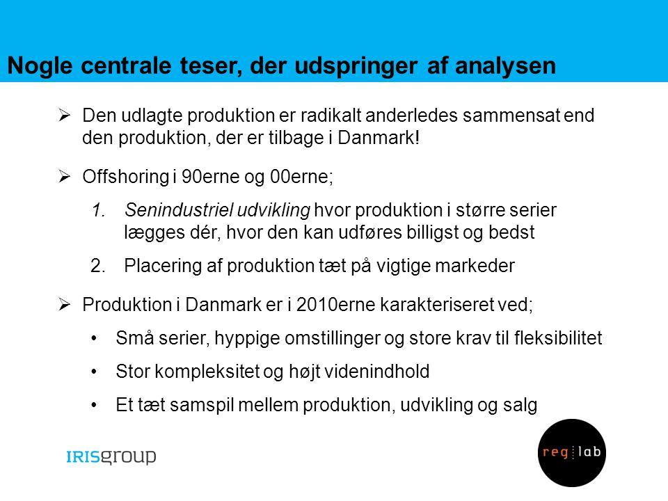 Nogle centrale teser, der udspringer af analysen  Den udlagte produktion er radikalt anderledes sammensat end den produktion, der er tilbage i Danmark.
