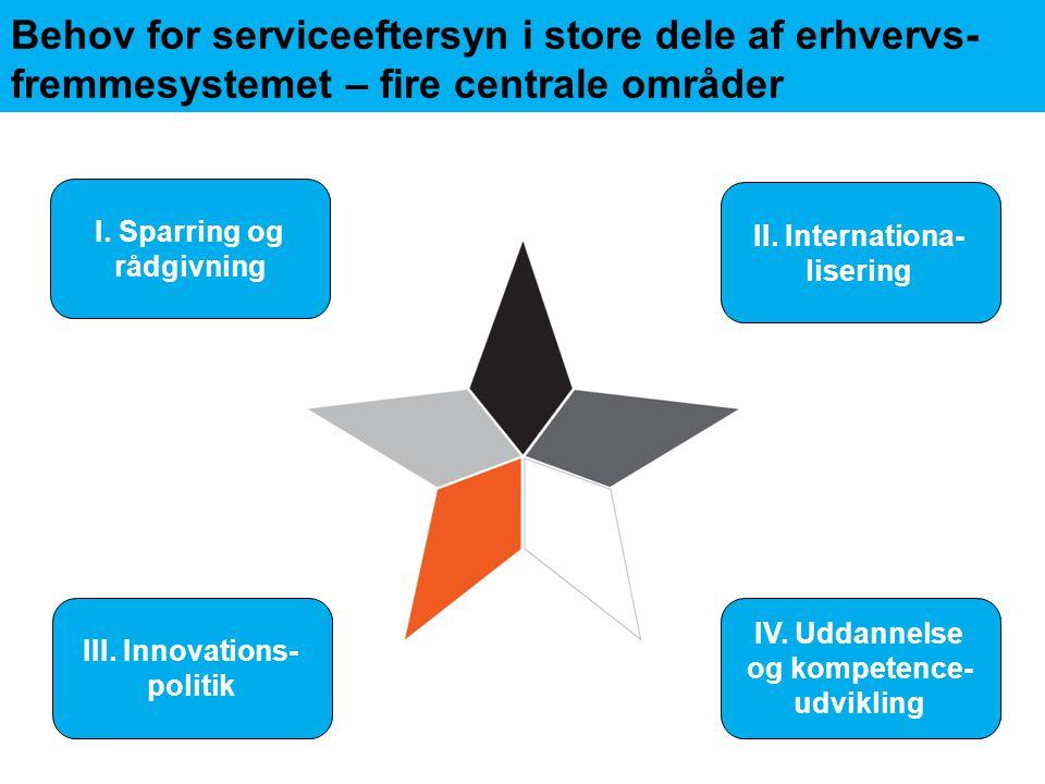 Behov for serviceeftersyn i store dele af erhvervs- fremmesystemet – fire centrale områder I.