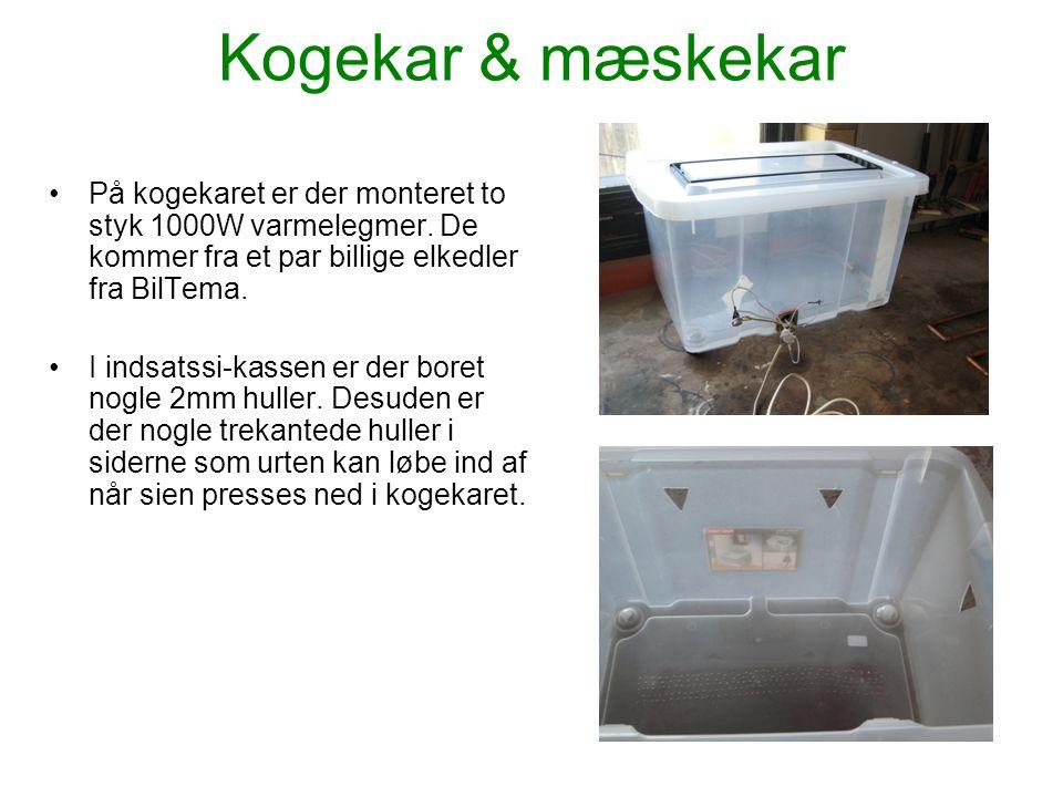 Kogekar & mæskekar •På kogekaret er der monteret to styk 1000W varmelegmer. De kommer fra et par billige elkedler fra BilTema. •I indsatssi-kassen er