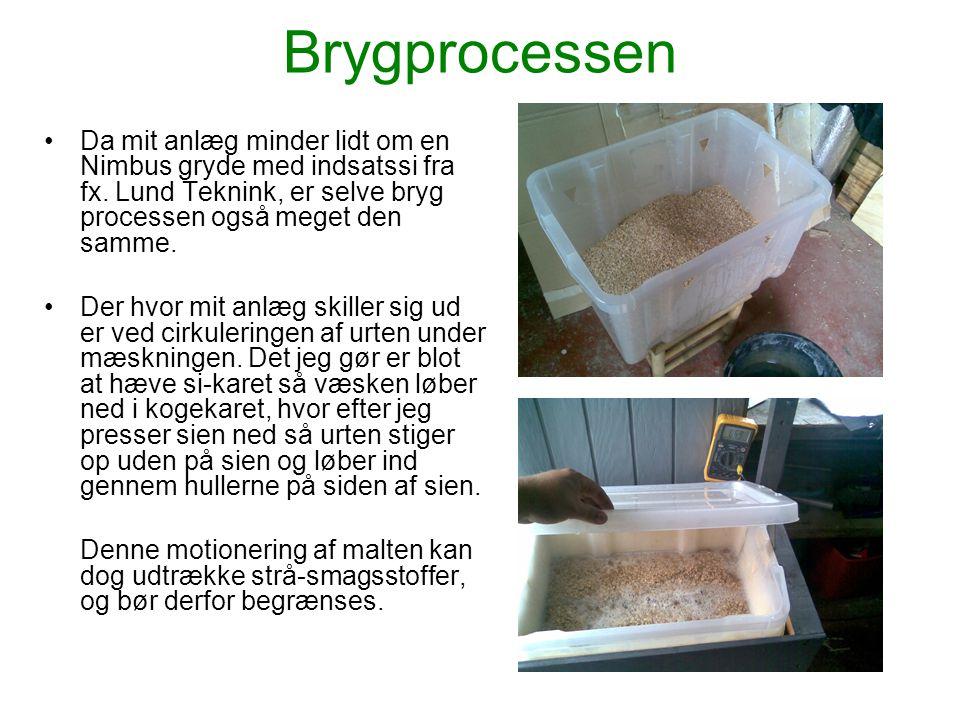 Brygprocessen •Efter mæskning hæves og fjernes den øverste kasse (indsatssien), og temperaturen hæves til kogepunktet.