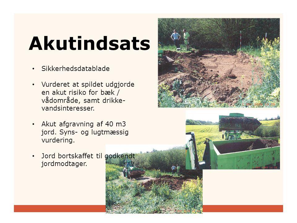 Akutindsats • Sikkerhedsdatablade • Vurderet at spildet udgjorde en akut risiko for bæk / vådområde, samt drikke- vandsinteresser.