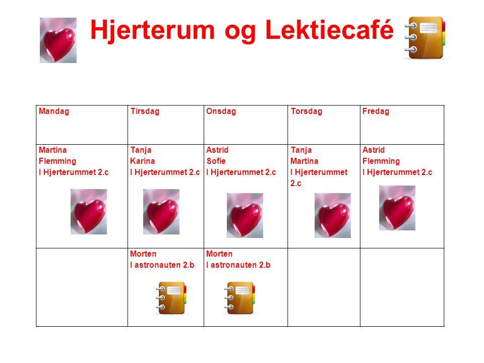 Hjerterum og Lektiecafé MandagTirsdagOnsdagTorsdagFredag Martina Flemming I Hjerterummet 2.c Tanja Karina I Hjerterummet 2.c Astrid Sofie I Hjerterumm
