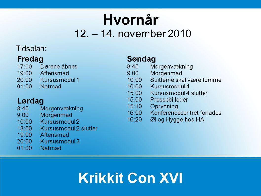 Krikkit Con XVI 12. – 14. november 2010 Tidsplan: Hvornår