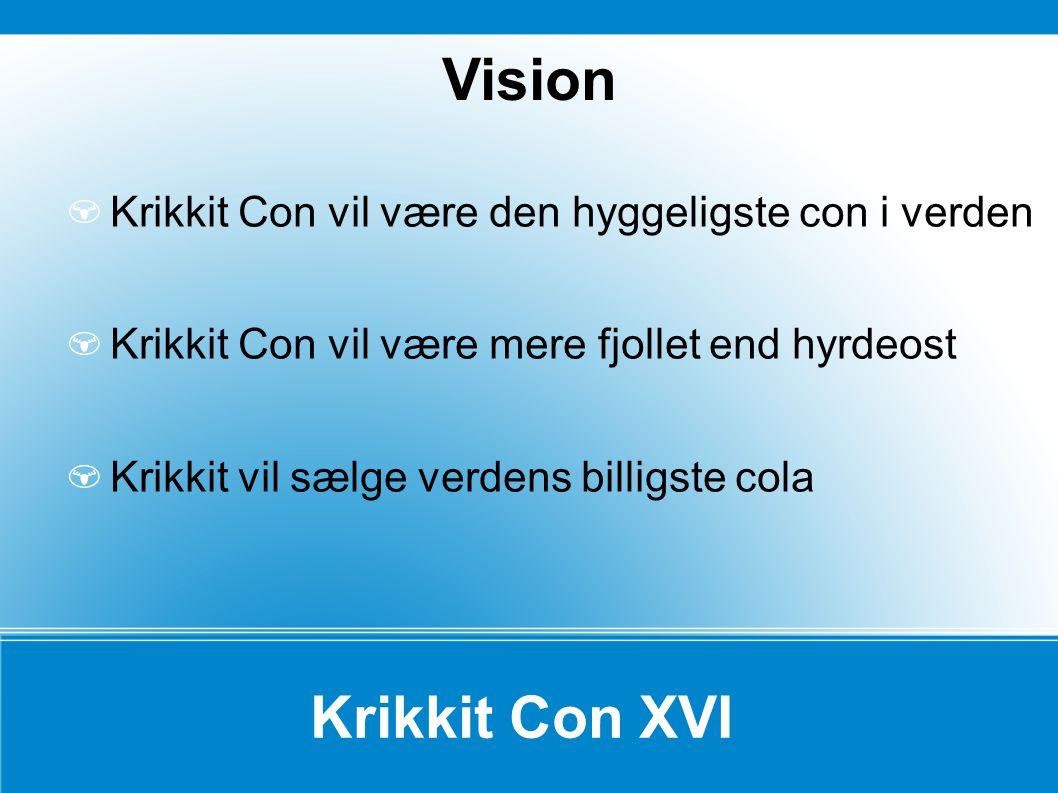 Krikkit Con XVI Krikkit Con vil være den hyggeligste con i verden Krikkit Con vil være mere fjollet end hyrdeost Krikkit vil sælge verdens billigste cola Vision
