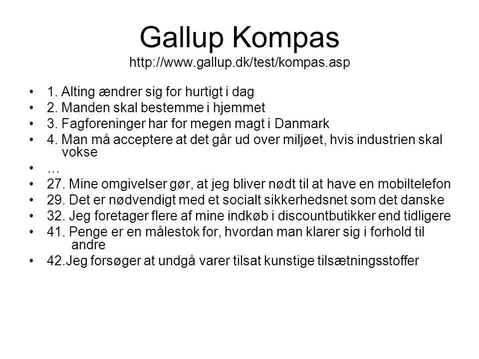 Gallup Kompas http://www.gallup.dk/test/kompas.asp •1. Alting ændrer sig for hurtigt i dag •2. Manden skal bestemme i hjemmet •3. Fagforeninger har fo