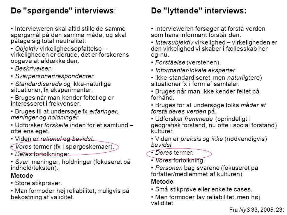 """De """"spørgende"""" interviews: • Intervieweren skal altid stille de samme spørgsmål på den samme måde, og skal påtage sig total neutralitet. • Objektiv vi"""