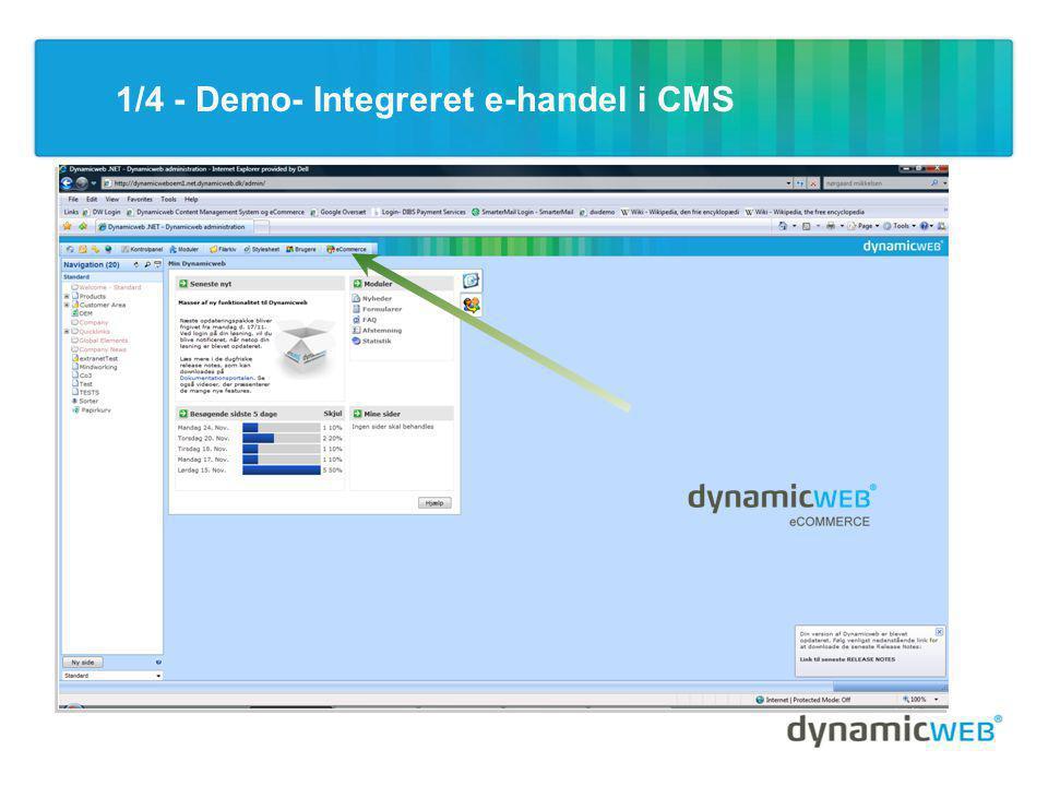1/4 - Demo- Integreret e-handel i CMS
