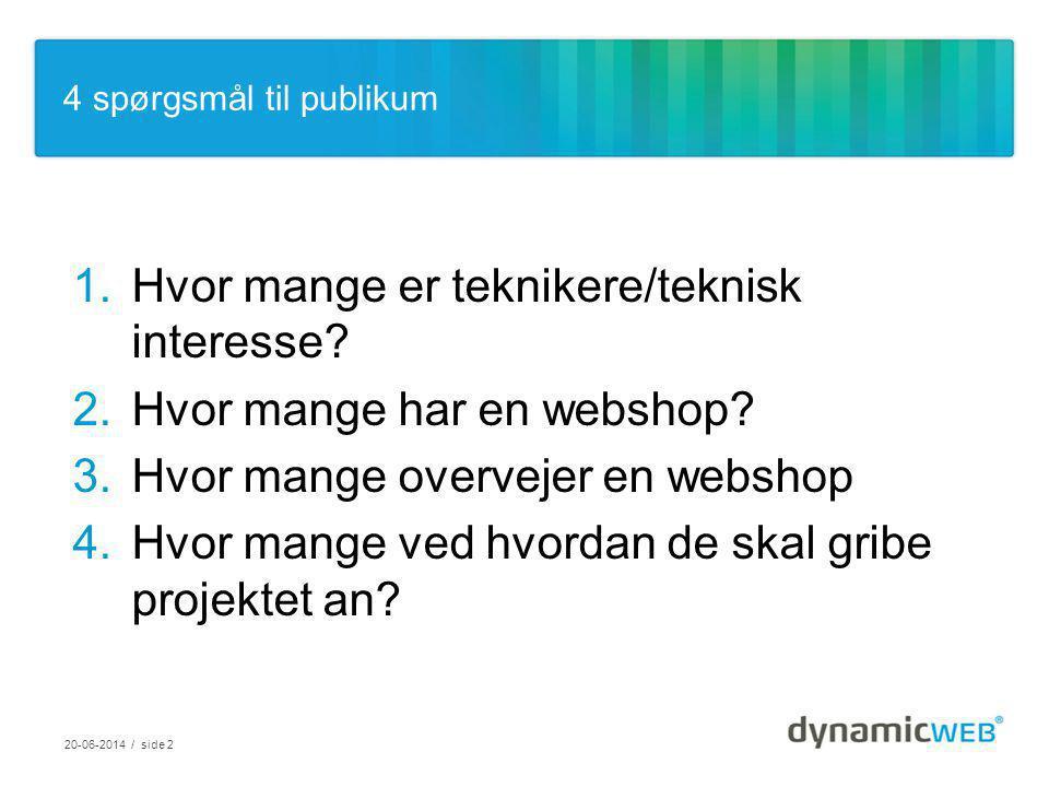 3 eksempler på eCommerce løsninger Tobias Høst – Commercial Lead, eCommerce Dynamicweb Software A/S