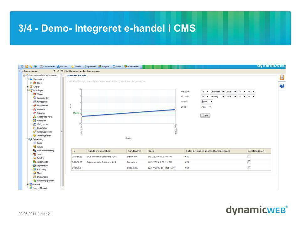 3/4 - Demo- Integreret e-handel i CMS / side 21