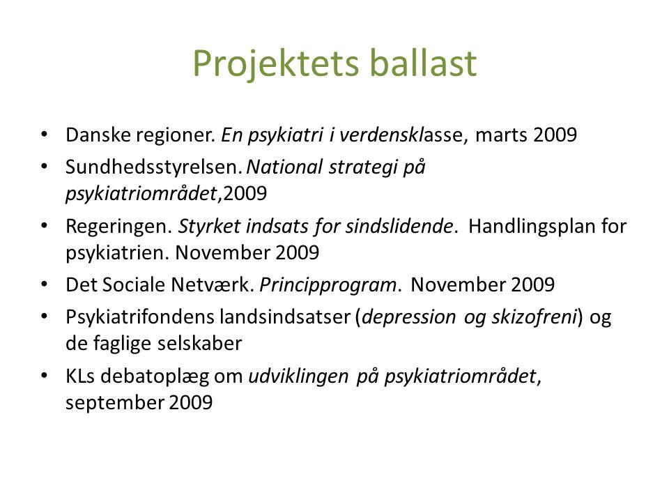 Projektets ballast • Danske regioner.En psykiatri i verdensklasse, marts 2009 • Sundhedsstyrelsen.