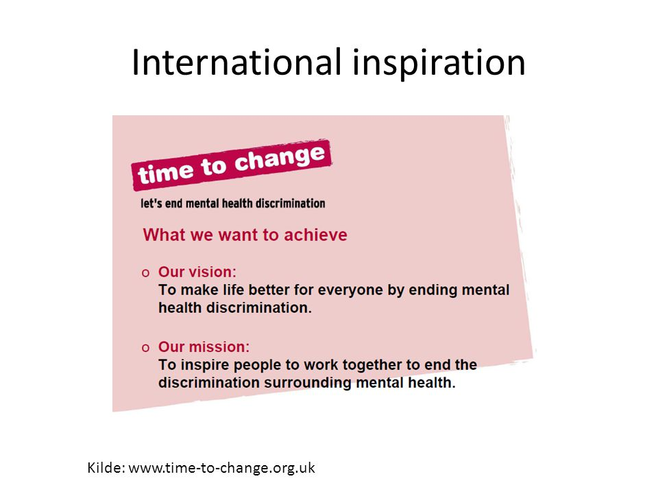 International inspiration Kilde: www.time-to-change.org.uk
