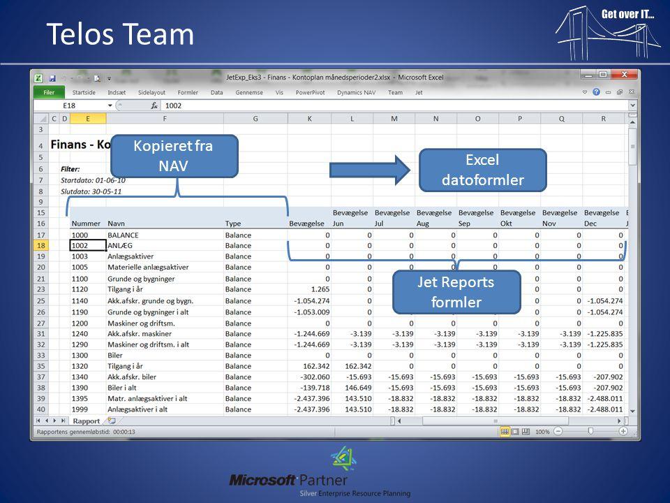 Telos Team Info: • Se komplet Web seminar videooptagelser (4 filer –> 1 time 45 min i alt – Både PowerPivot og Jet Reports): ftp://file.telosteam.dk/WebSeminarftp://file.telosteam.dk/WebSeminar (Brugernavn: Jet, Adgangskode: Reports1) • Hent programmet her: http://jetexpress.jetreports.com/da/ Findes i en 32 og 64 bit version • Bestil Vejledning i PDF hos Telos Team: http://www.telosteam.dk/kontakt.aspx • Find direkte numre på: http://www.telosteam.dk/medarbejdere.aspx