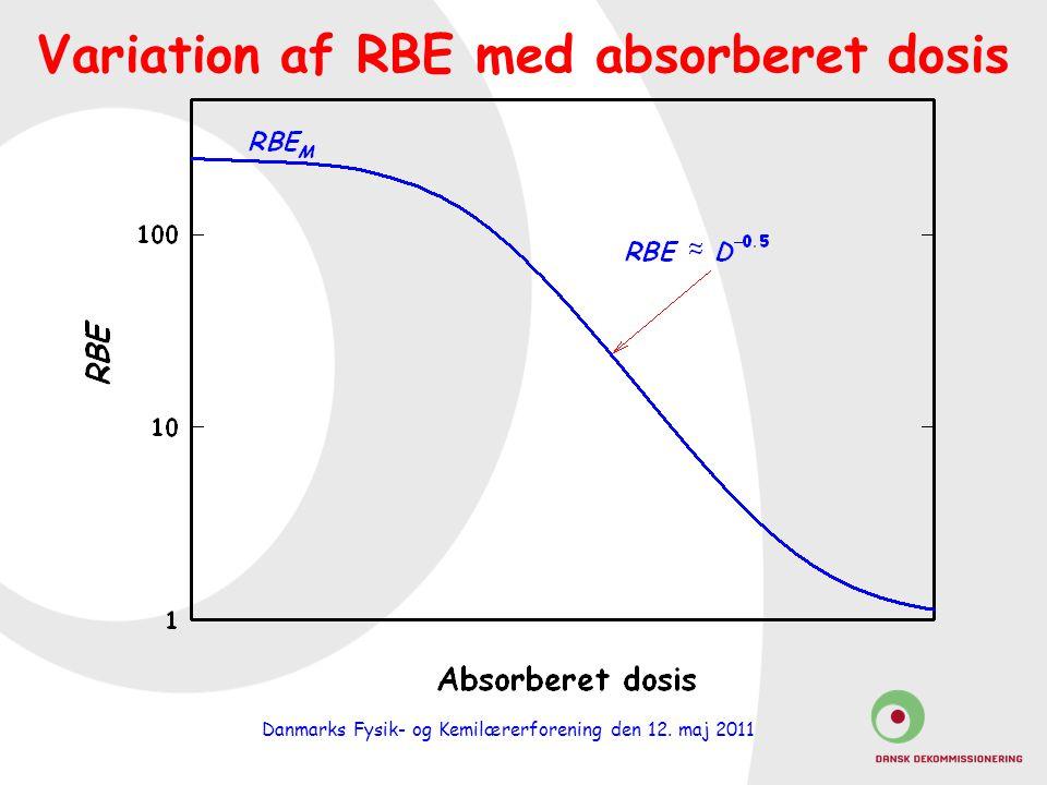 Danmarks Fysik- og Kemilærerforening den 12. maj 2011 Variation af RBE med absorberet dosis