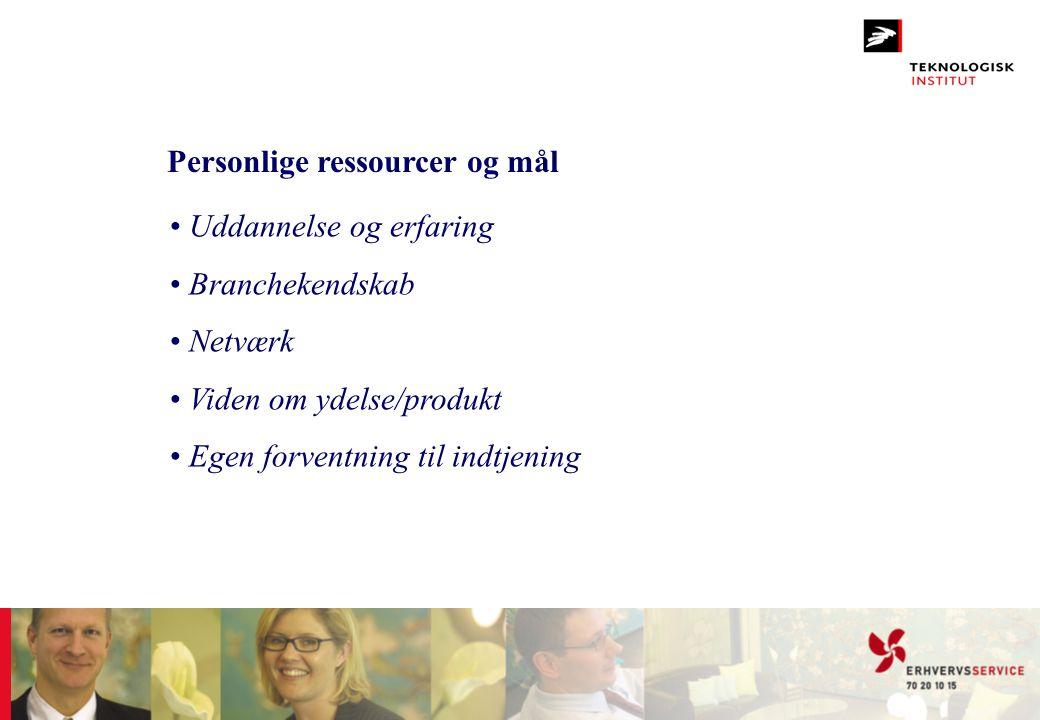 Personlige ressourcer og mål • Uddannelse og erfaring • Branchekendskab • Netværk • Viden om ydelse/produkt • Egen forventning til indtjening