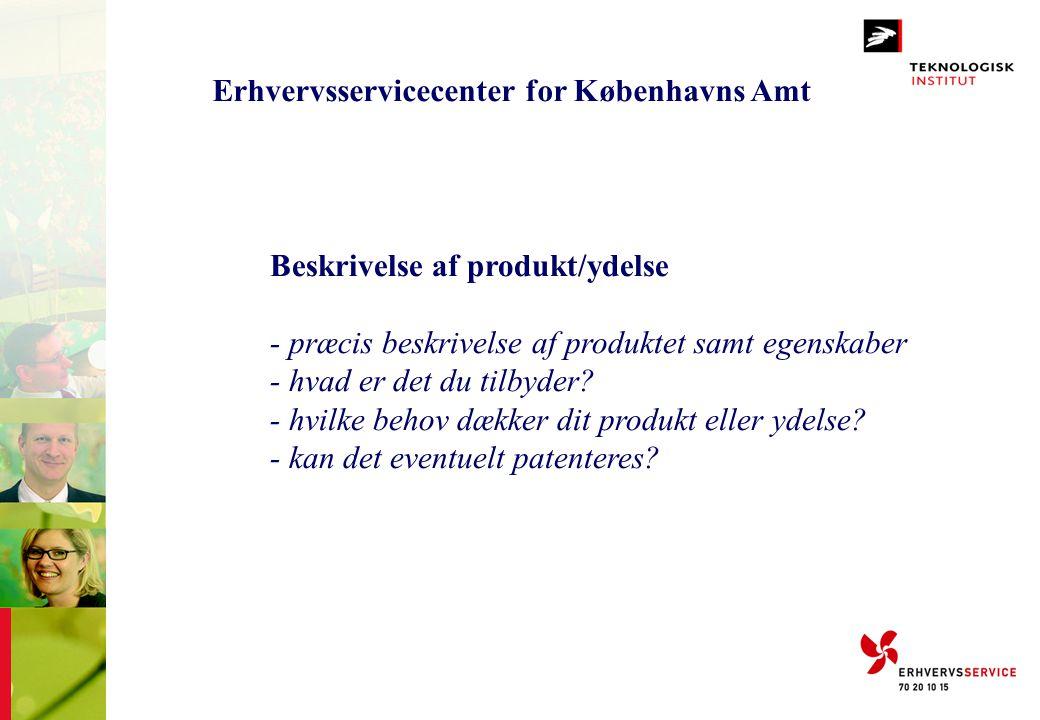 Erhvervsservicecenter for Københavns Amt Beskrivelse af produkt/ydelse - præcis beskrivelse af produktet samt egenskaber - hvad er det du tilbyder? -