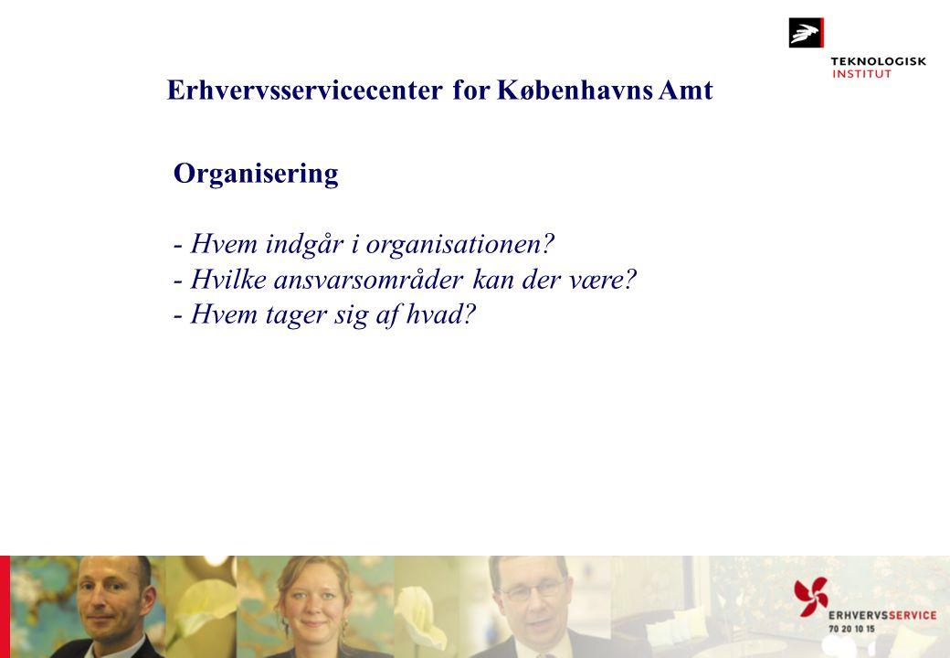 Erhvervsservicecenter for Københavns Amt Organisering - Hvem indgår i organisationen? - Hvilke ansvarsområder kan der være? - Hvem tager sig af hvad?