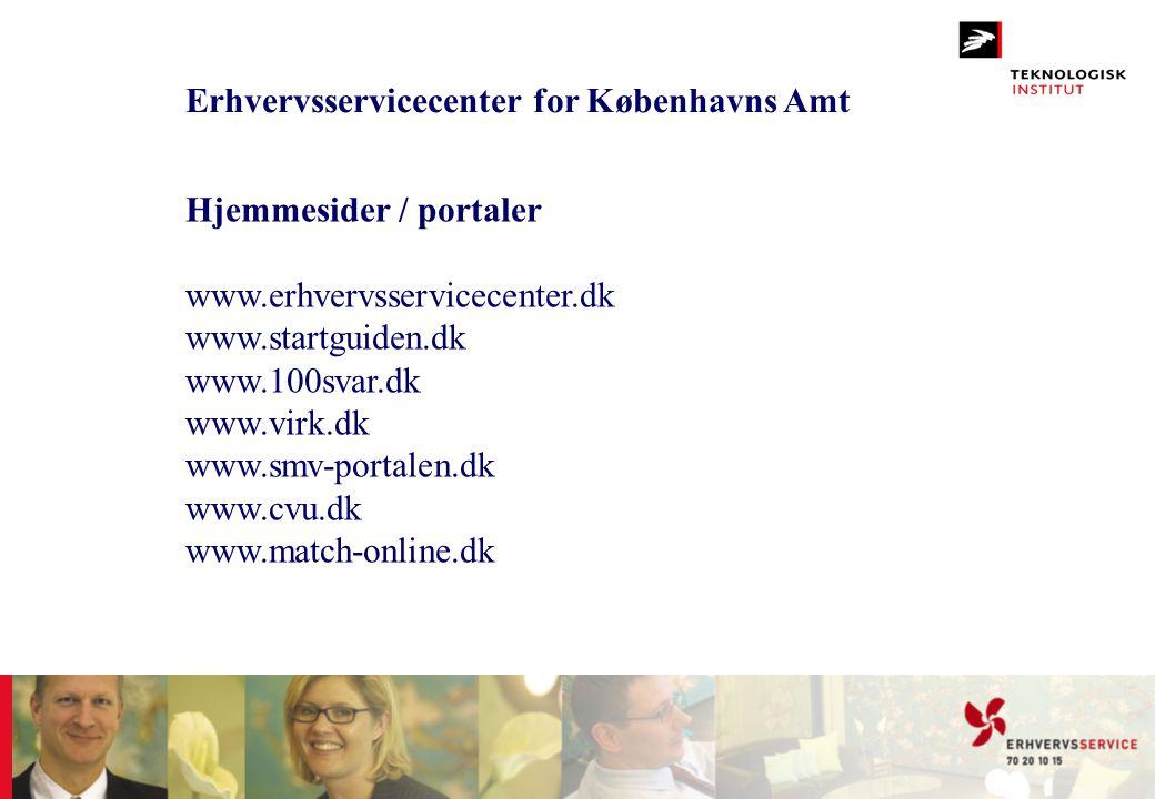 Erhvervsservicecenter for Københavns Amt Hjemmesider / portaler www.erhvervsservicecenter.dk www.startguiden.dk www.100svar.dk www.virk.dk www.smv-por