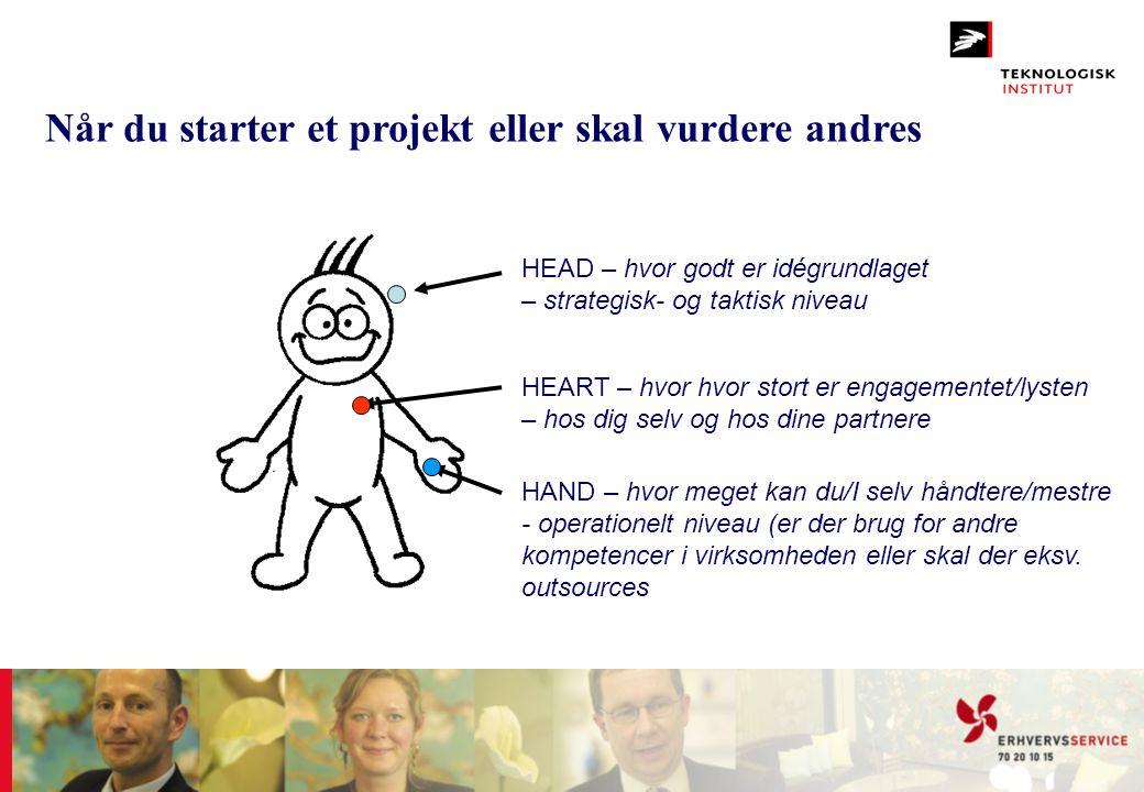 Når du starter et projekt eller skal vurdere andres HEAD – hvor godt er idégrundlaget – strategisk- og taktisk niveau HEART – hvor hvor stort er engag
