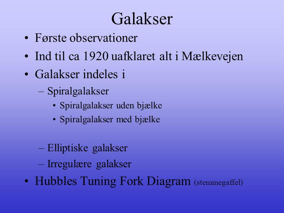 Galakser •Første observationer •Ind til ca 1920 uafklaret alt i Mælkevejen •Galakser indeles i –Spiralgalakser •Spiralgalakser uden bjælke •Spiralgala