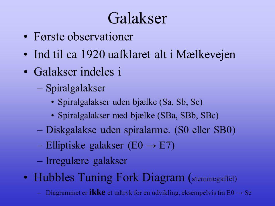 Galakser •Første observationer •Ind til ca 1920 uafklaret alt i Mælkevejen •Galakser indeles i –Spiralgalakser •Spiralgalakser uden bjælke (Sa, Sb, Sc