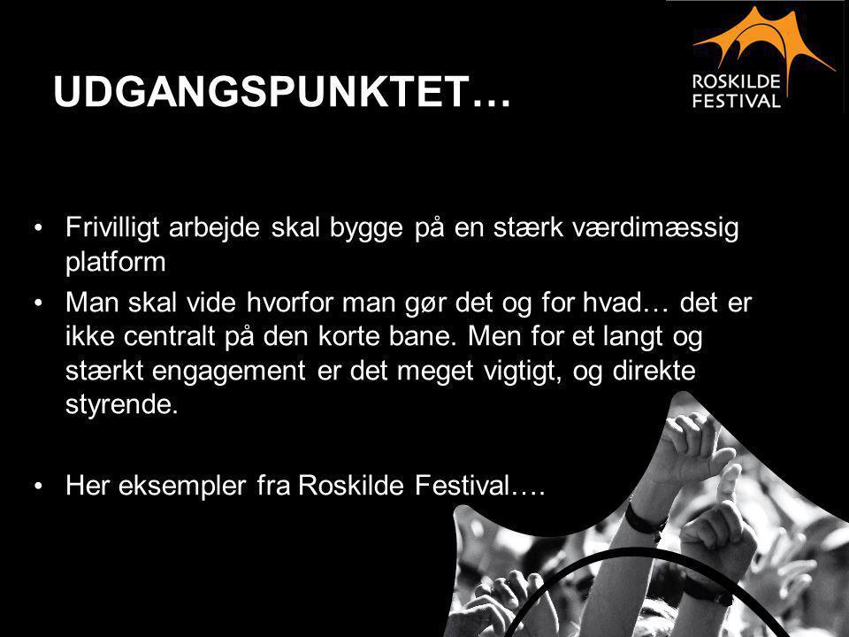 VÆRDIGRUNDLAG • Roskilde Festival er en årlig flerdages international kulturbegivenhed, der giver kvalitetsoplevelser baseret på rytmisk musik og kreativt fællesskab.