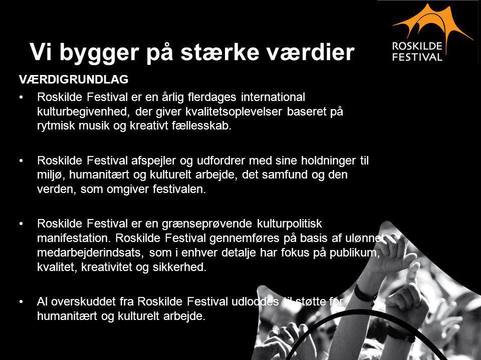 Musikprofil Roskilde Festival fokuserer først og fremmest på musikken og stræber i sin musikpolitik mod at forblive: • Den førende, aktuelle og fremadrettede festival for den rytmiske musik • Fornyende og udfordrende og fortsat præsentere ungt talent af i dag og i morgen • Bygget på kvalitet, fornyelse og variation og ikke størst, hyggeligst eller mest etableret